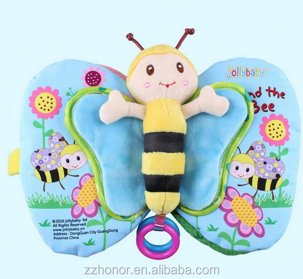 Multi-functional early education cloth book, kids's soft fabric educational cloth book, jollybaby bee wing cloth book