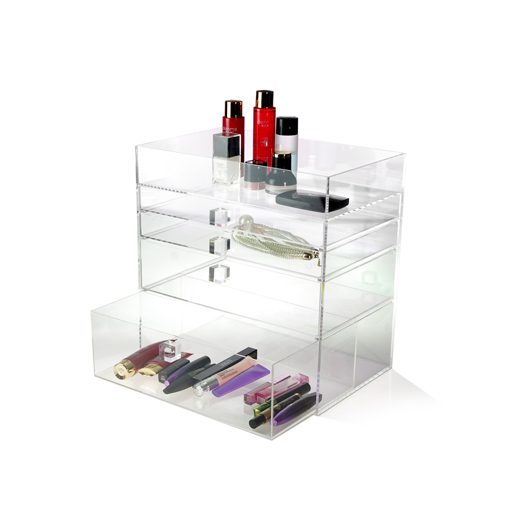 Top sale acrylic display box and cases wholesale with 4 drawers