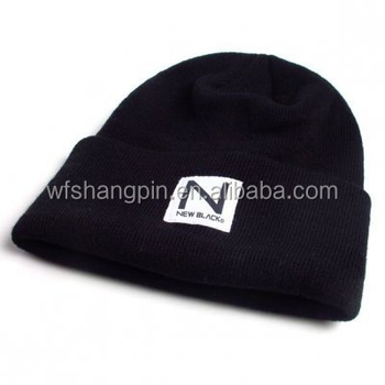 6a6e63fd519 High Quality Plain Black Tight Knitting Beanie Hat with Custom Woven Label