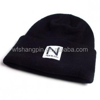 b8ecc98fd0d14 High Quality Plain Black Tight Knitting Beanie Hat with Custom Woven Label