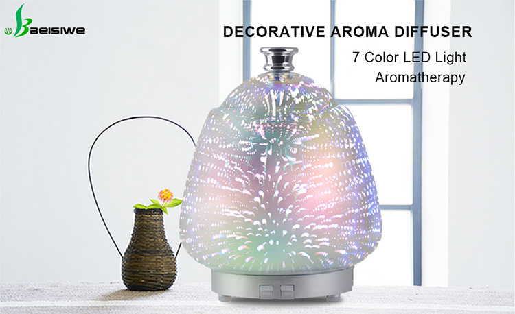Hot item 3D visual effect 7 gradient fixed color led light ultrasonic fragrance aromatherapy essential oil glass aroma diffuser
