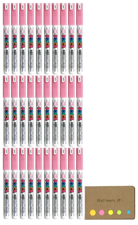 Uni Posca Paint Marker Pen PC-1MD, Extra Fine Point, Shiny Color Pail Pink Ink, 30-pack, Sticky Notes Value Set