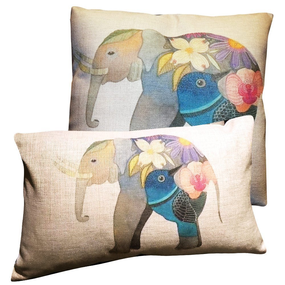 """Set 2 Cotton/Linen,Cushion Cover Pillowcases-color:Raw Beige & Soft Colors,motive:Elephant,size:18""""x18"""" &14""""x22"""".Stuffed with 2 RamHome(TM) square 20"""" & 14""""x22"""" superior polyester pillow inserts."""