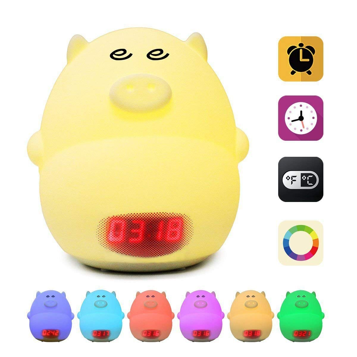 Axiwen Night Light Alarm Clock for Kids Cute Pig Clock USB LED Lights Silicone Baby Lamp Color Changing 2 Alarms 3 Sounds