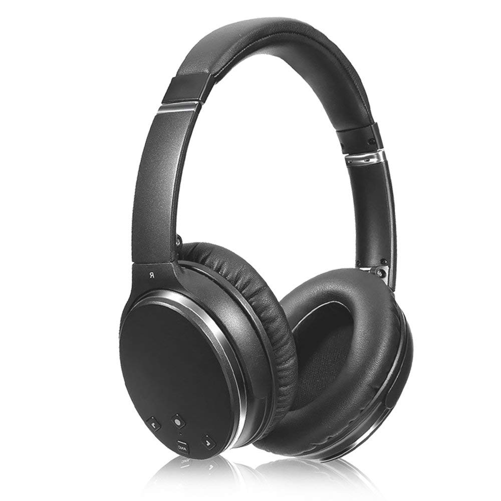 Active Noise Cancelling Headphone Bluetooth Wireless Over Ear, Memory Protein Earmuffs HiFi Stereo Sound Headphones with Microphone for PC/Cell Phones/TV/Travel/Work - Black
