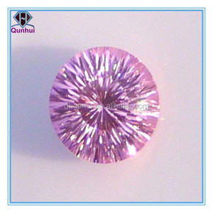 round shaped pink cubic zirconia earrings