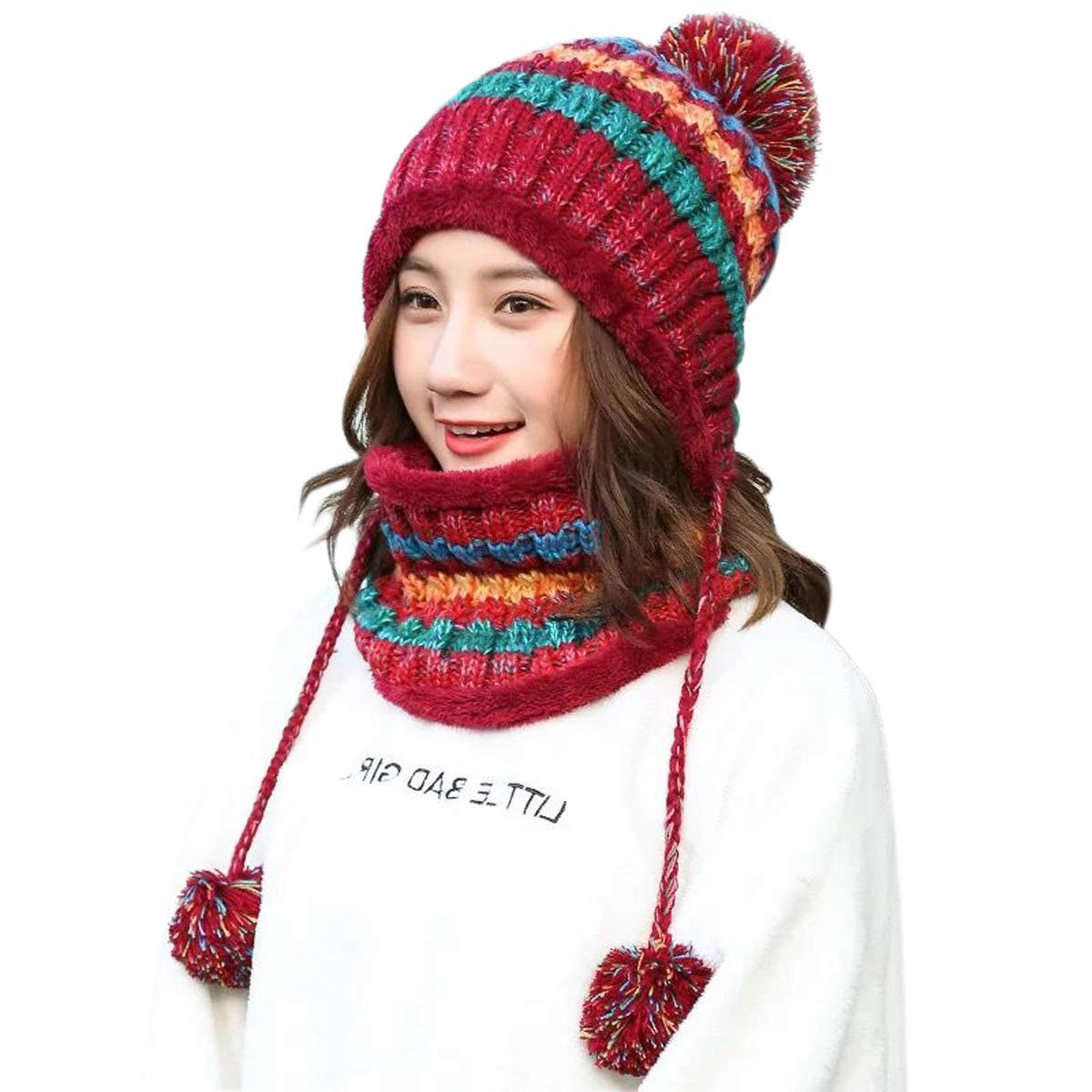 77ad30b95bfdde Get Quotations · Lanzom Women Lady Winter Beanie Hat Scarf Set Warm Knit  Earflap Hat Circle Scarves