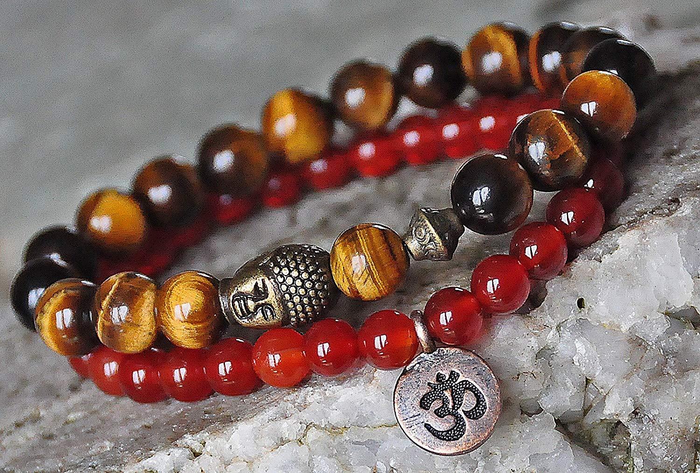 Prosperity / Abundance Set of two Carnelian, Tiger's Eye Gemstone Mala Bracelet,Money Bracelet mala bracelet,buddha bracelet,reiki gemstone bracelet,yoga bracelet