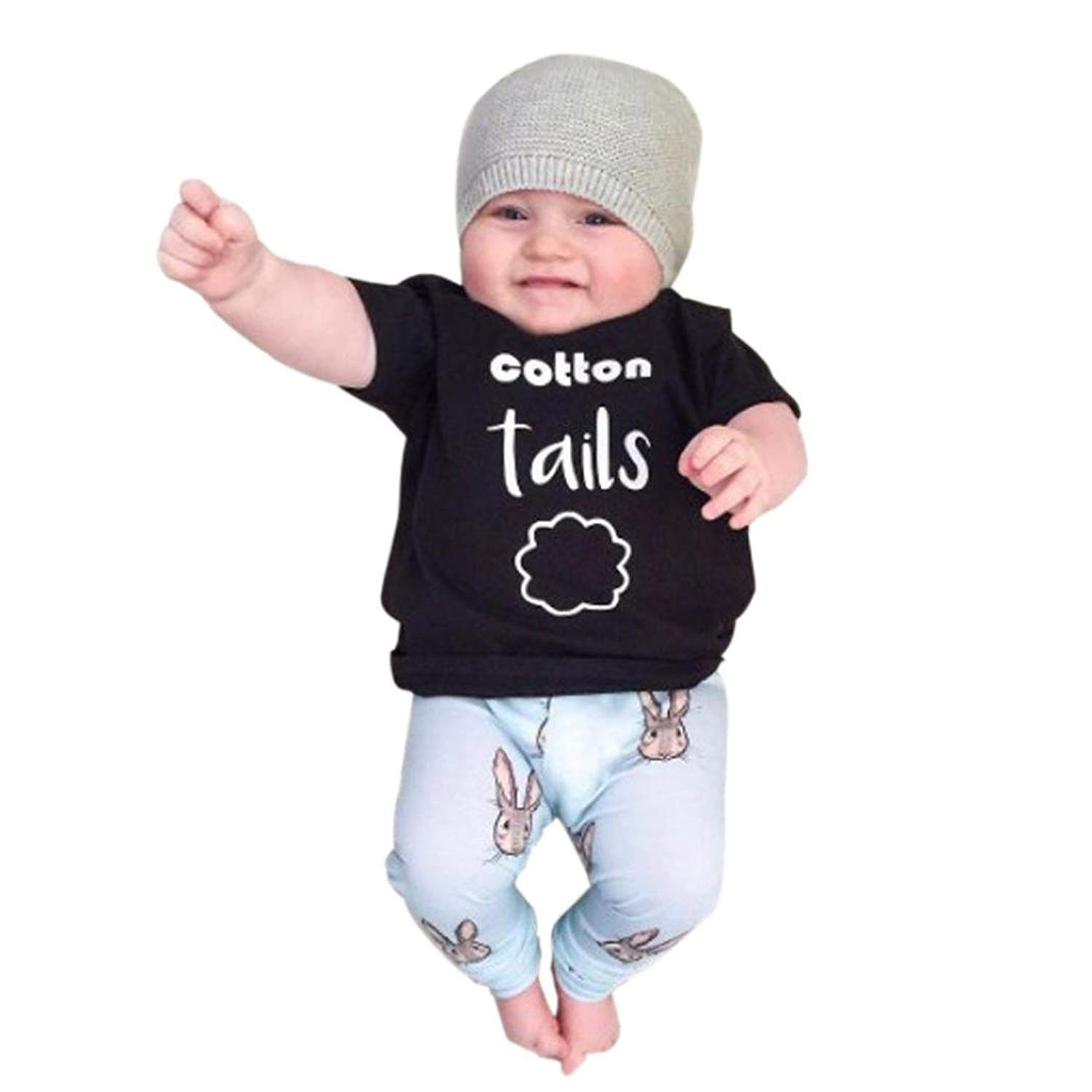 4151a928c309 Get Quotations · Kehen Newborn Baby Boy Girl 2pcs Spring Outfits Letter  Print T-Shirt Tops+Rabbit