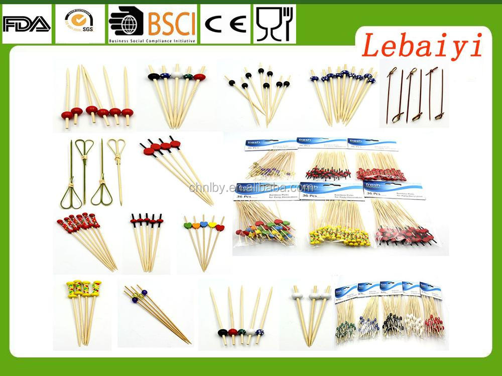 Bamboo Cocktail Picks With Yellow and Purple Set Of 36 Decorative Bamboo Cocktail Skewers With Shiny Beads