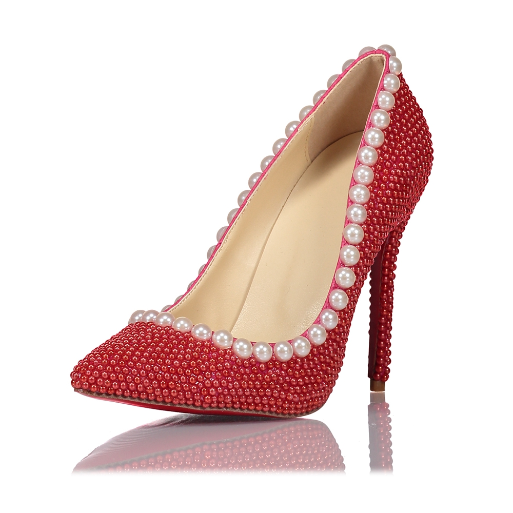 Party High Pearls Handmade Wedding Shoes Graduation Shoes Red Heels Prom Bridesmaid Pearl Shoes White Shoes Party qIw0w57