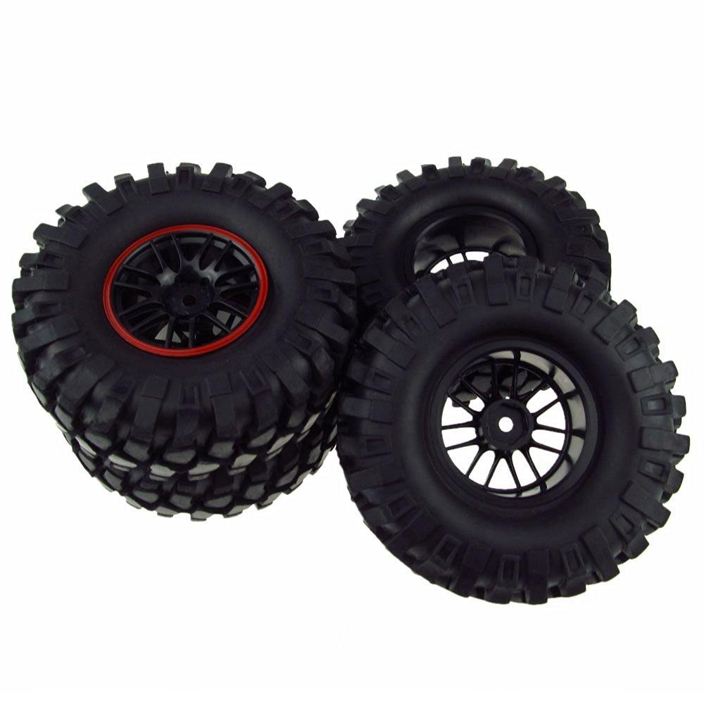 RC 1:10 Rock Crawler Rubber Tires & Plastic Double 7 Spoke Wheel Rim Pack of 4
