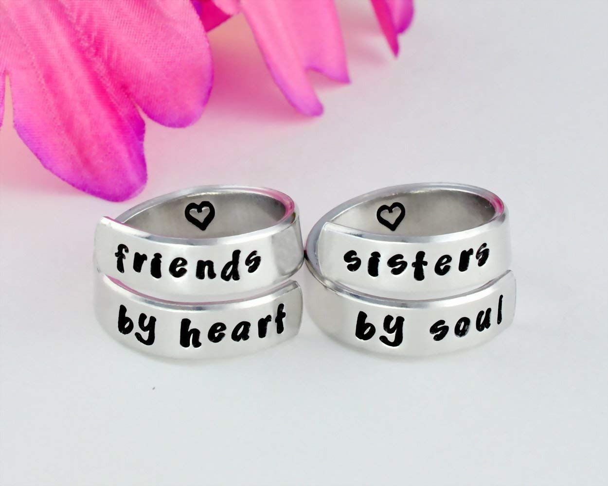 friends by heart/sisters by soul - Hand Stamped Aluminum Spiral Wrap Rings Set of 2, Sorority Sisters Best Friends BFF Friendship Personalized Gifts