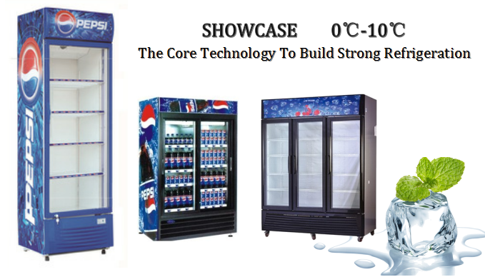 400L Supermarket Glass Door Display Cooler With Lighting Box For Beverage Dairy And Beer