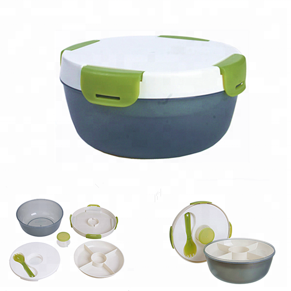 1.2L Plastic To Go Salad Bowl With Ice Pack and Sauce Box With Spoon
