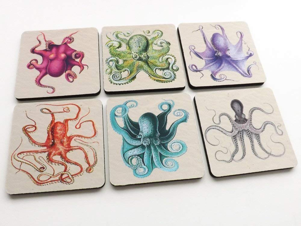 Octopus Tentacles Drink Coasters 3.5 inch neoprene gift nautical sea ocean beach rustic home decor