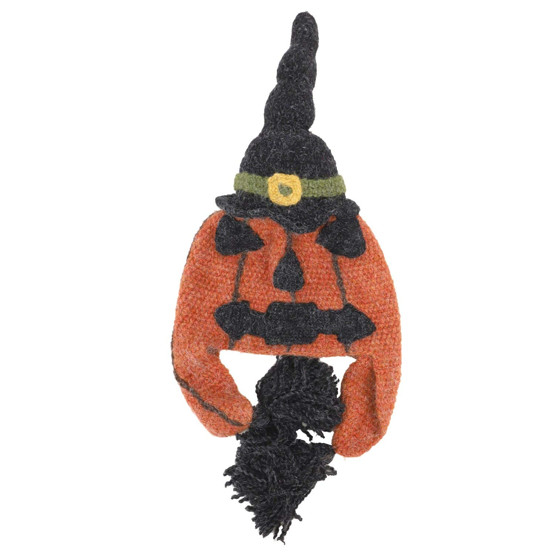 9fe3d1565bc42 Trendy Apparel Shop Peruvian Handmade Halloween Jack O Lantern Knit Beanie  Hat