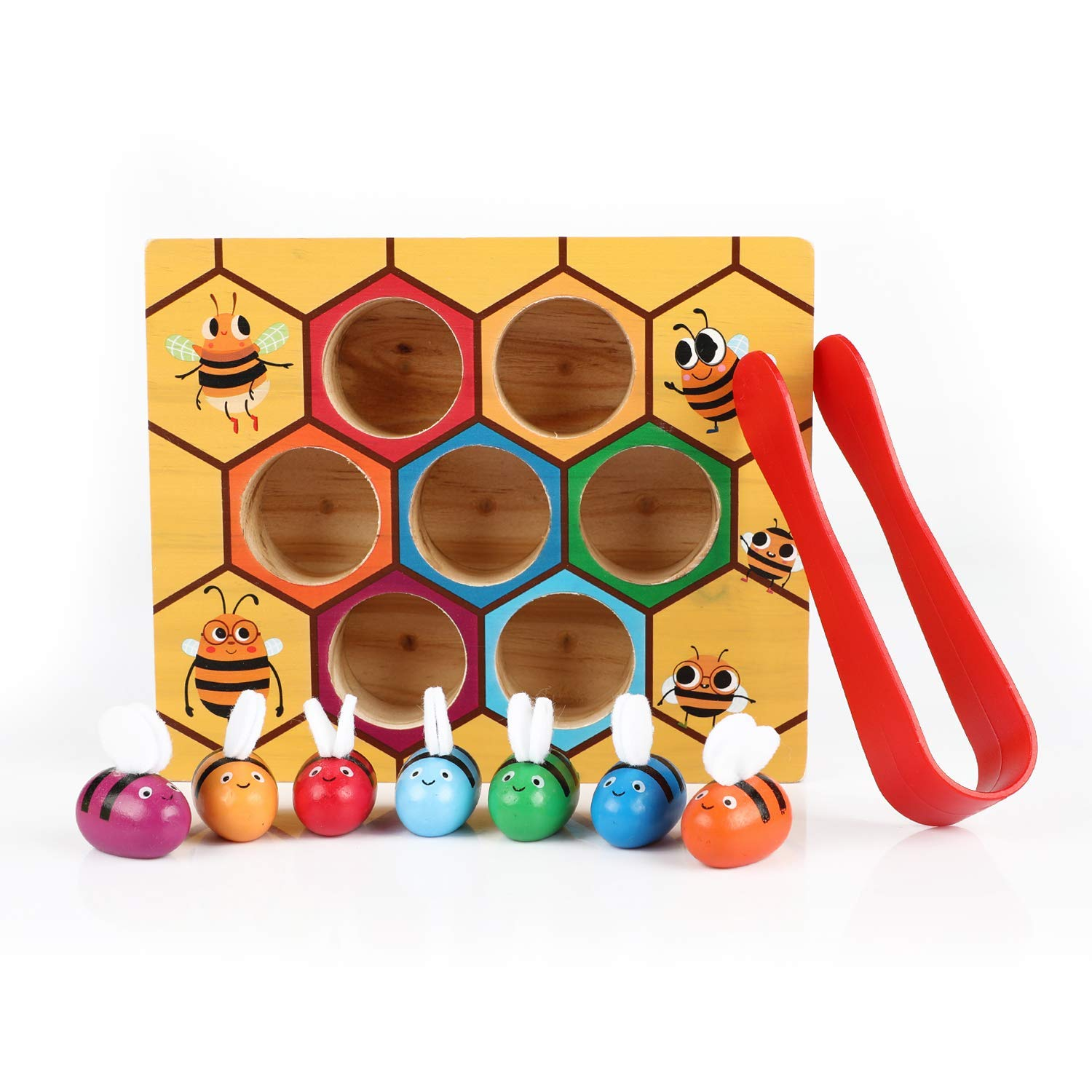 Flymall Wooden Bee Picking Toy Catching Practices for Baby Early Educational Toddler Montessori Game Colorful Beehive Box