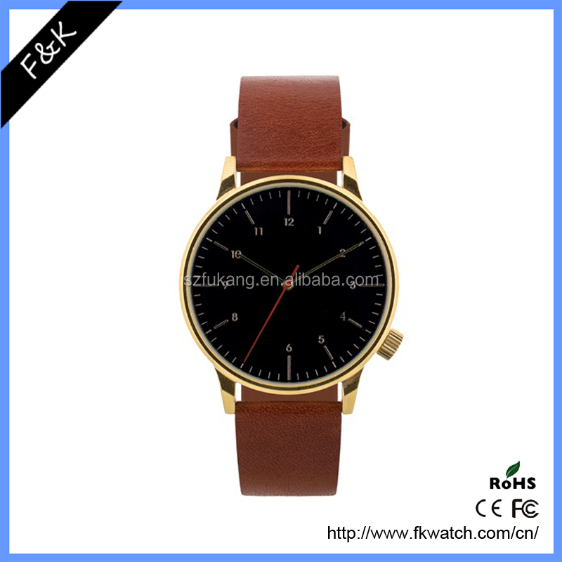 Fashion Leather Strap Quartz Analog Custom Branding Men's Watch, OEM