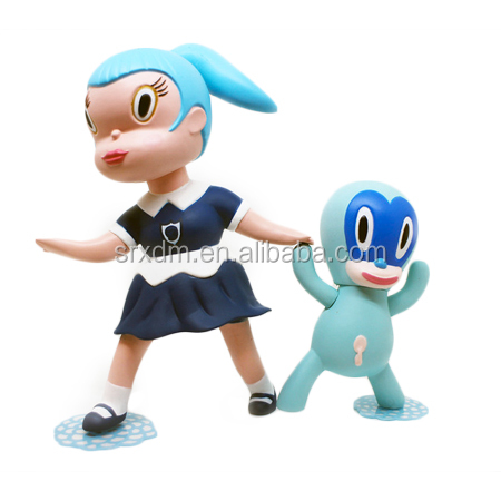 OEM plastic cartoon 6 inches wild girls vinyl toy for child