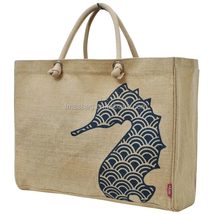 Custom Large Capacity Jute Tote Shopping Bag With Sea Horse Printing