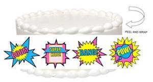 CakeSupplyShop Item#24509 Girls's Super Hero Theme Edible Cake Decoration Topper - Edible Cake Wrap