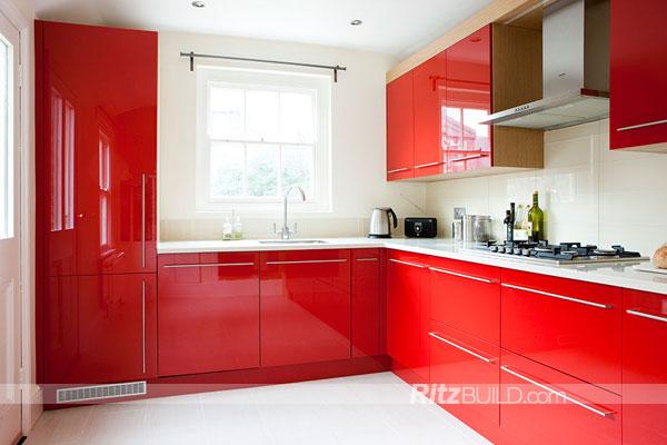 Populares rojo alto brillo moderno mueble cocina mdf mueble cocina