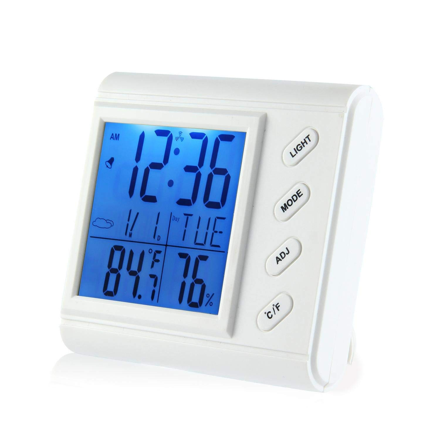 Teepao Temperature Humidity Gauge, Indoor Thermometer Hygrometer with Digital Alarm Clock, Backlit Accurate Monitor Clear Reading, Min/Max Records, °C/°F Switch, Calendar, Time Display - White