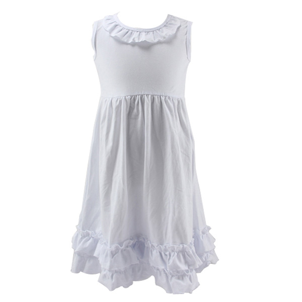 Latest arrival white sleeveless pictures of latest gowns design ruffle colalr hemline high waist baby angel sincere costume