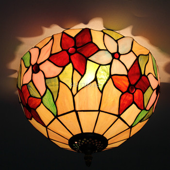 handmade 12inch popular style glass ceiling lamp with sunflower design shades for home decor