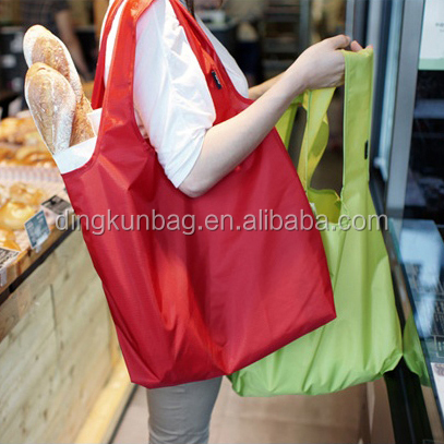 2016 food grade polyester green bag used for shopping and food packing