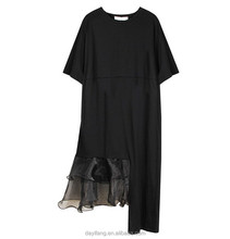 Fashion 2015 Summer Custom Plain Black Knit Party plain black dress with organza