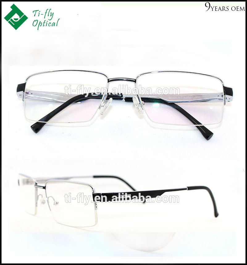 fancy designer allergy free silver half rim 100% pure titanium eyeglasses frames for men