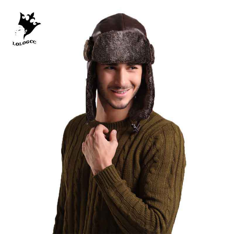 [Lologcc] 2015 new autumn and winter warm ear cap mens fur winter hats womens bomber hats chapeu MZ029