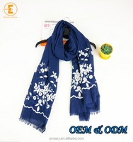 2017 new design Factory direct selling embroidery 100% cotton pashmina voile shawl scarf