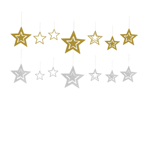 XIAMEN STONE 7Pcs Silver Gold Glitter Paper Stars, Christmas Hanging Garland Decorations