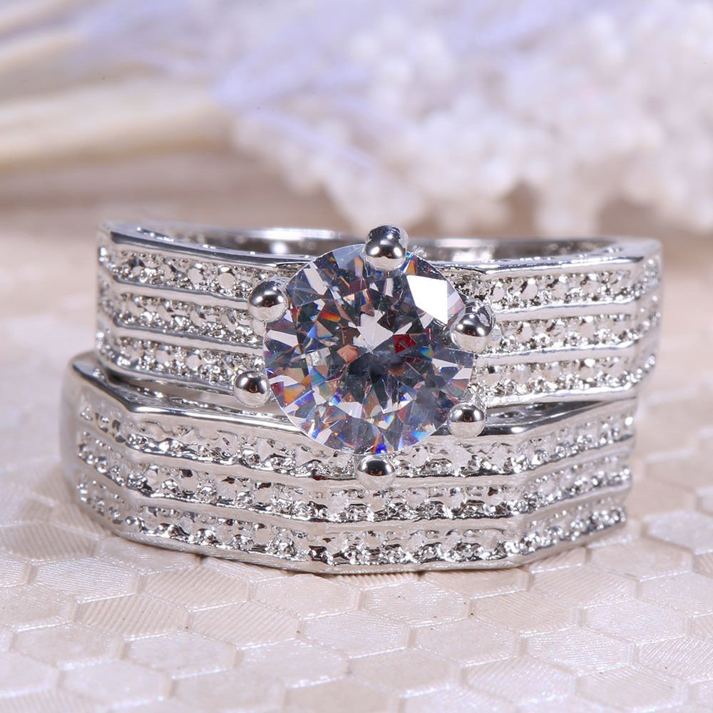 Ranbunloed 2pcs/Set Women Men 925 Silver Ring 3.78ct White Topaz Wedding Engagement Sz6-10 (8)
