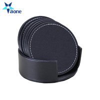 Durable Round Square Heat-resistance Placemat Mats Coffee Mug Drink PU Leather Coaster Cup