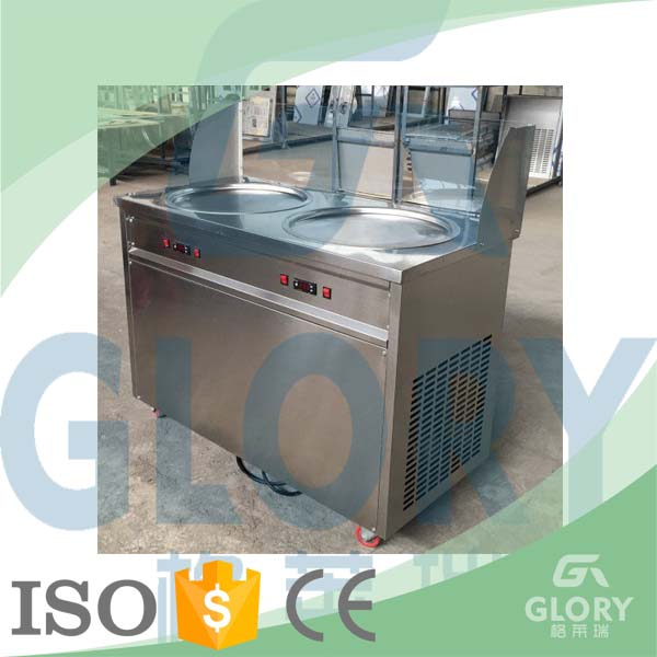 Good Feedback Double Pan Flat Pan Fry Ice Cream Machine for Frying Fruit and Milk Mixture