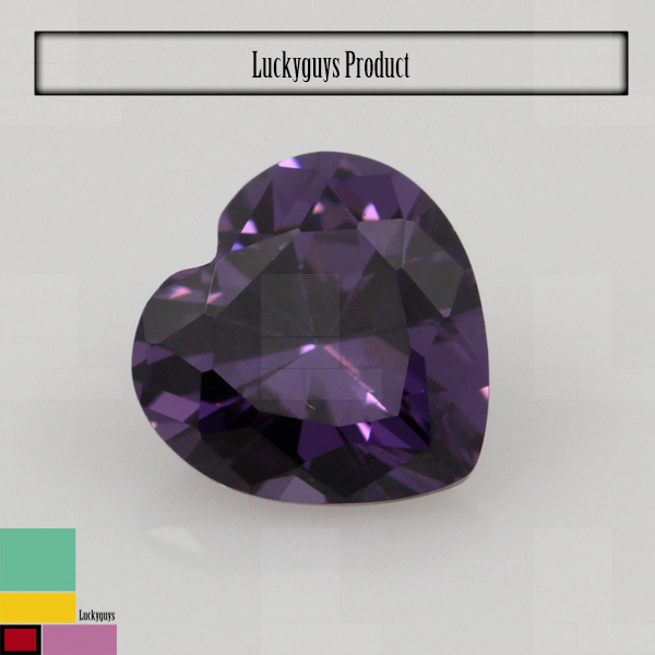 2015 latest Shining heart shape amethyst color artificial cubic zirconia gemstones for jewelry making