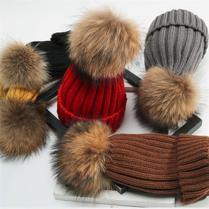 5482fc033e6 Women s thick cable knit beanie hat with soft fur pom pom winter wool hat
