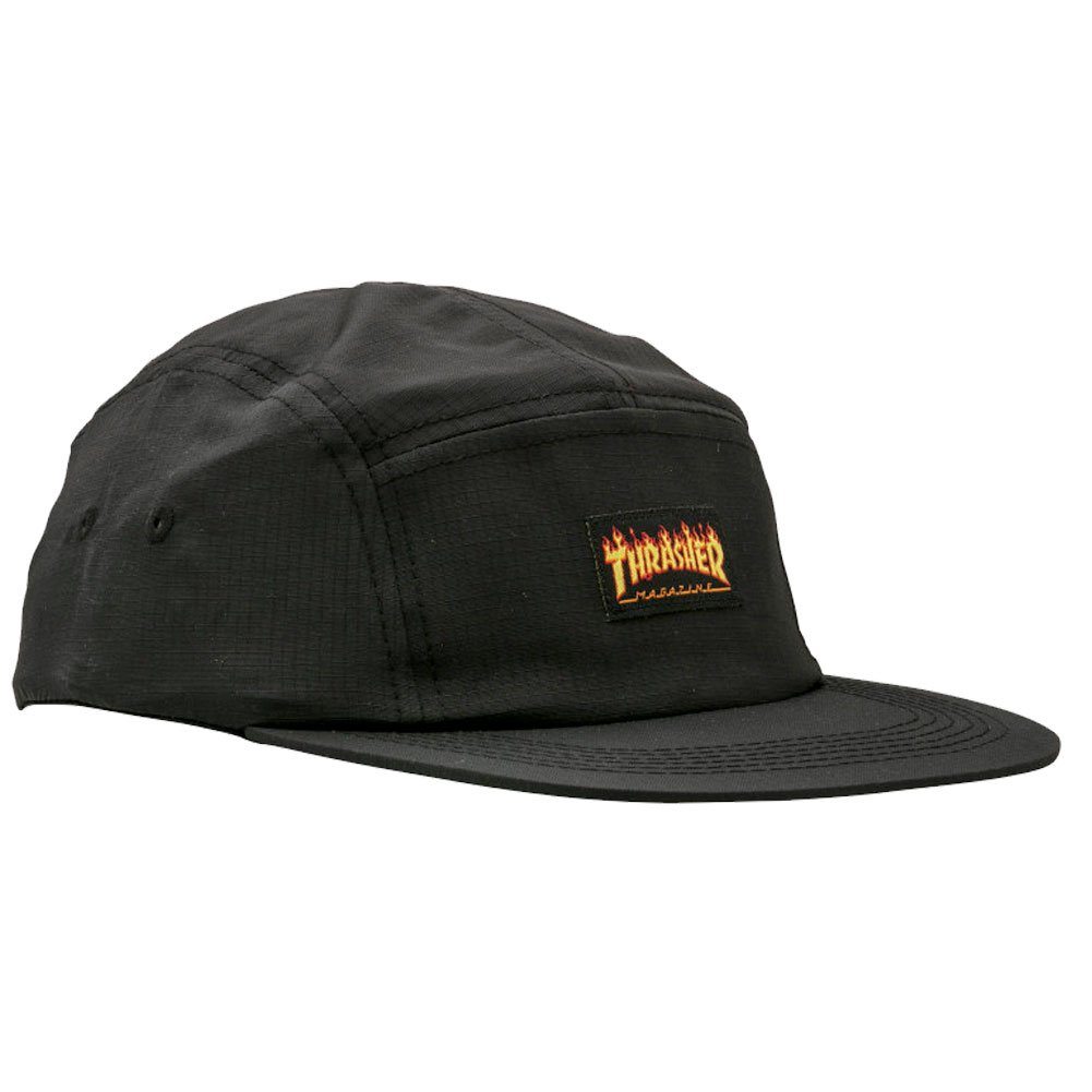76a7839c895 Buy Thrasher Magazine Flame Logo Black 5 Panel Hat - Adjustable in ...