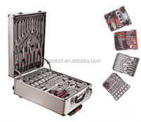 186pcs tool trolleys set in ABS Gray aluminum case multi function hand tool set
