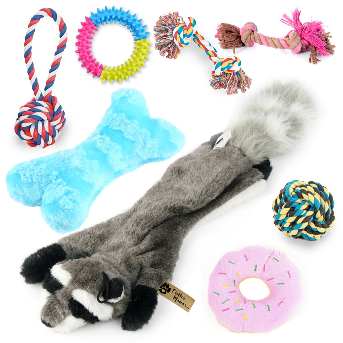 Critter Mamas Puppy Chew Toys and Small Dog Toy Set (8 Pack) -Natural Cotton Dog Rope Toys for Puppy Teething and Dental Cleaning -No Stuffing Plush Squeaker Toy -Great New Puppy Starter Kit