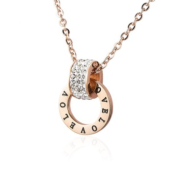 Fashion Stainless Steel Rose Gold Engrved Love Memory Cubic Zirconia Necklace For Women