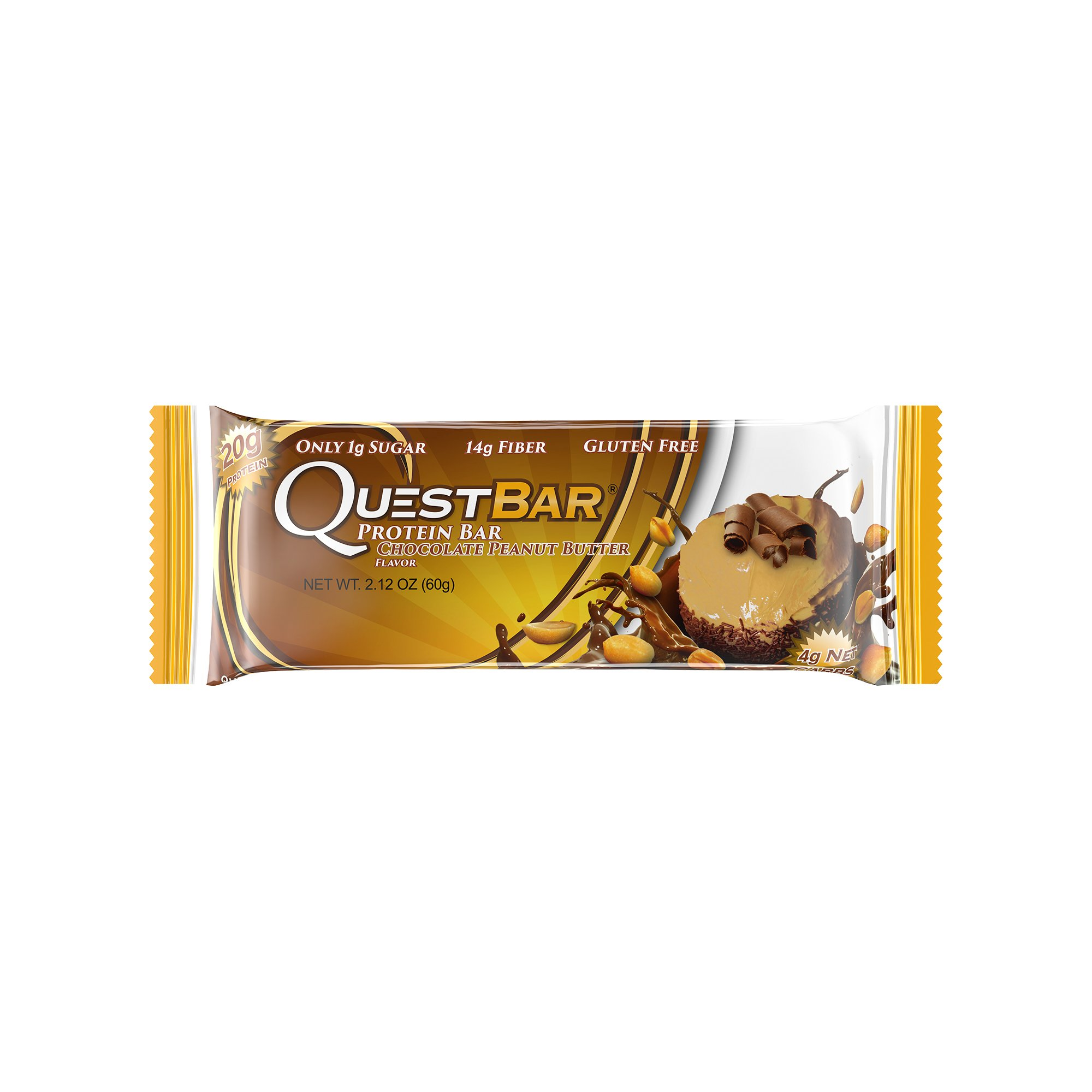 Quest Nutrition Protein Bar, Chocolate Peanut Butter, 20g Protein, 4g Net Carbs, 170 Cals, High Protein Bars, Low Carb Bars, Gluten Free, Soy Free, 2.1 oz Bar, 12 Count