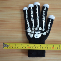 2017 Halloween skeleton electronic magic gloves led party lighted up Mittens for kids safety