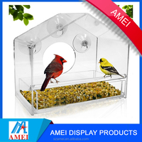 2017 wholesale pop acrylic window bird feeder with suction cups