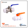 Double union ball valve for water with brass/PPR body