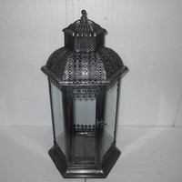 silver color with glass stained glass lantern tealight holders
